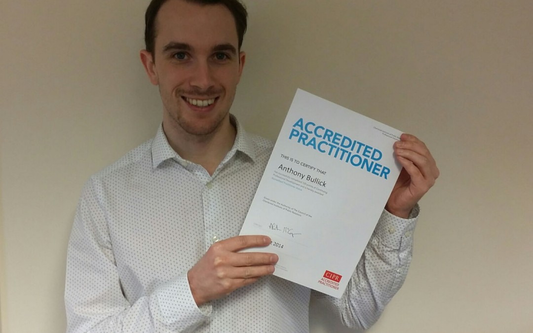 Anthony retains Accredited Practitioner status with the CIPR