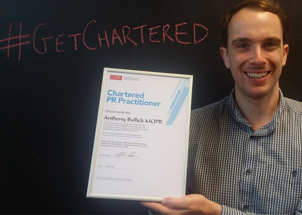 Anthony becomes one of just 115 Chartered PR practitioners in the UK