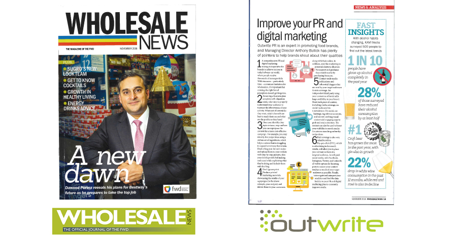 Outwrite provides PR expertise in food industry magazine